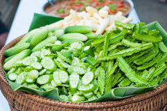 Ginger, cucumber and winged bean on tray bamboo. Ready to eat with food royalty free stock image