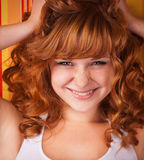 Ginger curly young teen girl Royalty Free Stock Photo
