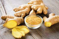 Ginger. Fresh and ground ginger root spice Stock Image