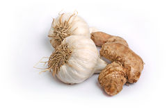 Ginger and garlic. On white background Stock Photography