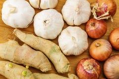 Ginger, garlic and allium ascalonicum Royalty Free Stock Image