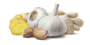 Ginger garlic horizontal composition isolated on white backgroun Royalty Free Stock Image