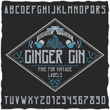 Ginger Gin Typeface Poster. With decoration on sample label design vector illustration Stock Photography