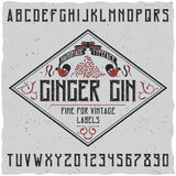 Ginger Gin Typeface Poster. With decoration on simple label design vector illustration Stock Images