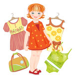 Ginger girl, bag and set clothes Stock Photography