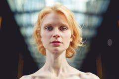 Ginger girl close up , tinted photo royalty free stock photos