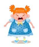 Ginger Girl Crying, Vector Illustration On White Bbackground Stock Photography