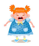 Ginger Girl Crying, Vectorillustratie op Witte Bbackground Stock Fotografie