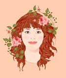 Ginger girl with roses Royalty Free Stock Image