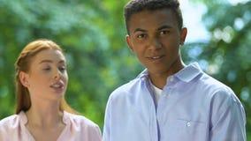 Ginger girl scolding boyfriend, demanding respect in relations, equal attitude
