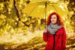 Girl with umbrella in park. Ginger girl with umbrella in park in autumn Royalty Free Stock Image