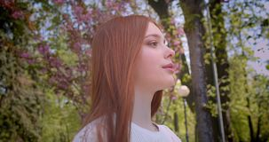 Ginger girl in white blouse walking along at pink floral garden and smiling into camera prettily. Ginger girl in white blouse walking along at pink floral stock video footage