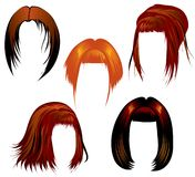 Ginger hair styling. Set of ginger hair styling for woman Royalty Free Stock Image