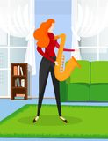 Ginger Haired Woman Training to Play Music by Sax. stock illustration