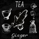 Ginger herbal tea. Chalk board set of  elements Royalty Free Stock Photo