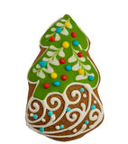 Ginger and Honey cookie in the shape of a Christmas fir tree wit Royalty Free Stock Image