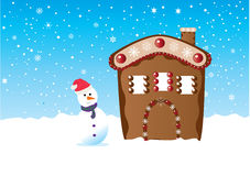 Ginger house. And snowman on the snow Stock Images