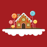 Ginger house. Merry Christmas and Happy New Year. Sweet life illustration Stock Photography