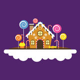 Ginger house. Merry Christmas and Happy New Year. Sweet life illustration Royalty Free Stock Photo