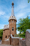Ginger house and walls on Park Guell at Barcelona Stock Images