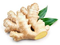 Ginger Isolated on a white. Ginger with leaves Isolated on a white Clipping Path Stock Image