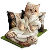 Ginger kitten lying on a pillow. Watercolor painting vector illustration