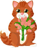 Ginger kitten with pink tulips Royalty Free Stock Photo
