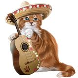 Ginger kitten playing the guitar watercolor painting. Ginger kitten playing the guitar white background stock illustration