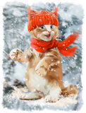 Ginger kitten watercolor painting Royalty Free Stock Photos