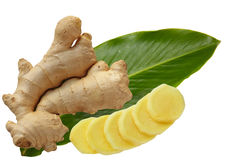 Ginger and Leaf Royalty Free Stock Photos