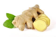 Ginger with leaves Royalty Free Stock Photos