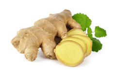 Ginger with leaves Royalty Free Stock Photography