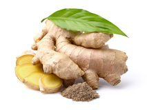 Ginger with leaves Stock Photos
