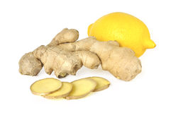 Ginger and lemon. On white background Royalty Free Stock Images
