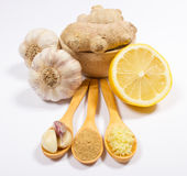 Ginger, lemon, and garlic. Concept for natural medicine. Royalty Free Stock Image