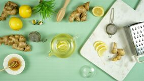 Ginger tea served with lemon and honey stop motion animation.