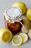 Ginger lemon jam. Can of jam with lemons and ginger Royalty Free Stock Photo