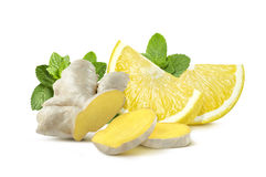 Ginger lemon mint  on white background Royalty Free Stock Photography