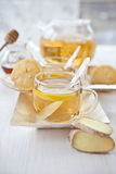 Ginger lemon tea and honey Stock Photos