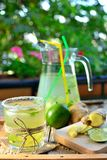Ginger lemonade. In a summer day prepared on a wooden plate in a shady place Stock Photography
