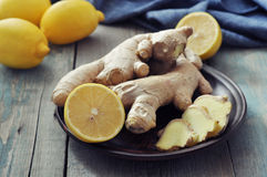 Ginger and lemons Stock Images
