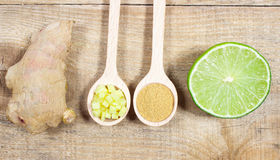 Ginger, lime, and garlic. Concept for natural medicine. Ginger, lime and garlic, fresh and healthy food products, concept for natural medicine royalty free stock photos