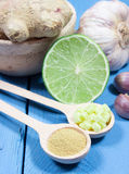 Ginger, lime, and garlic. Concept for natural medicine. Ginger, lime and garlic, fresh and healthy food products, concept for natural medicine stock image