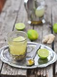 Ginger and lime  hot drink Royalty Free Stock Images