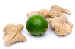 Ginger with a lime Royalty Free Stock Photography
