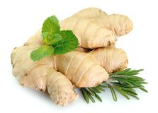 Ginger with mint and rosemary Stock Photos