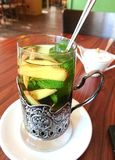 Ginger mint tea. Glass of ginger and mint tea Royalty Free Stock Images