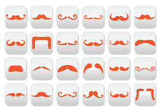 Ginger moustache or mustache vector buttons set Stock Image