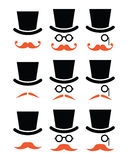 Ginger mustache or moustache with hat and glasses icons set Royalty Free Stock Photo