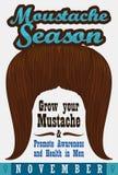 Ginger Mustache Promoting Awareness nei problemi di salute del ` s degli uomini, illustrazione di vettore illustrazione di stock
